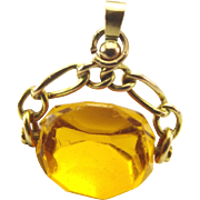 Victorian 9ct Gold & Spinning CITRINE Charm FOB Pendant