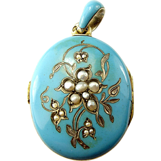 Victorian Austro/Hungarian 800 Silver Blue Enamel LOCKET + Seed Pearls Original Glass Covers