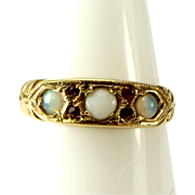 Vintage 9ct Gold, OPAL & Garnet RING 1969