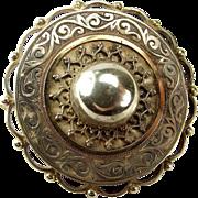 Victorian Silver & Gold Domed TARGET Pin Brooch Glazed LOCKET Back