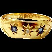 Victorian 18ct Gold, Sapphire & Diamond RING 1900
