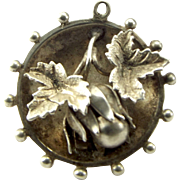 Victorian Dish Shaped Silver Charm 3d HAZELNUT With LEAVES Pendant FOB