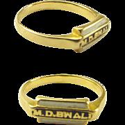 Antique 18ct Gold White Enamel MOURNING Ring MDB WALI Or Wald