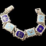 Vintage Silver & Enamel NAUTICAL Themed Bracelet Hallmarked 1957