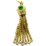 RARE Georgian 18ct & 20ct Gold TASSEL Charm Paste Set With PEARL Ends