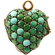 Victorian 9ct Gold Heart Shaped LOCKET Pave Set TURQUOISE Front Opens