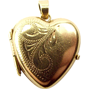 Vintage 9ct Gold HEART Shaped LOCKET Opens
