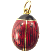 Vintage 1950's 18ct Gold & Enamel LADYBIRD LadyBug Charm FOB Pendant 9.2g WOW