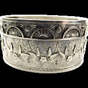 Stunning Victorian Silver Bracelet BANGLE Applied Decorations 1876
