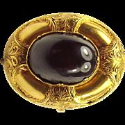 Georgian Etruscan 20ct Gold & Garnet Cabochon LOCKET Back Brooch Pin