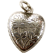 Victorian Hand Engraved Sterling Silver HEART Pendant Charm 1896