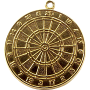 Vintage 9ct Gold Charm Double Sided DART BOARD 1980