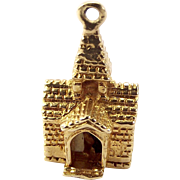Vintage 9ct Gold CHURCH Charm Opens Enamel BRIDE & GROOM 1975