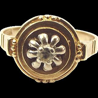Edwardian 14ct Gold Platinum & Diamond Etruscan Style RING