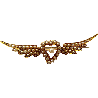 Victorian 18ct Gold Witches HEART & WINGS Seed Pearl Set Brooch/Pin Conversion Piece