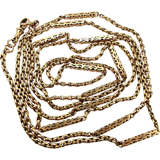 """Victorian 9ct Gold MUFF/GUARD Chain 60"""" Weighs 33.7g."""