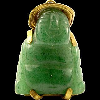 Vintage Gold F Chinese Jade BUDDHA Charm FOB Pendant