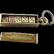 WW1 TRENCH ART Brass Box Sliding Lid Dice Inside Gambling FOB Pendant Charm