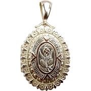 Victorian Sterling Silver & 9ct Gold LOCKET Opens 1883