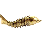 Large Vintage 14k Gold Articulated FISH Pendant FOB Charm 3.1g