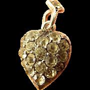 Fabulous Georgian Pave Silver & Paste HEART Charm PENDANT