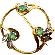 Vintage 9ct Gold, Diamond & Emerald PIN Or BROOCH Hallmark 1986