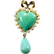 Vintage Silver Gilt TURQUOISE, Pearl HEART + EGG Shaped Drop Brooch Pin Pendant