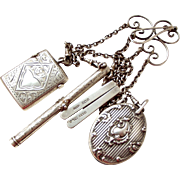 ANTIQUE Silver CHATELAINE 4 TOOLS 1901 Vesta Pen/Pencil Scissors Pin Cushion