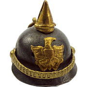 Antique WW1 PICKELHAUBE Charm German HELMET Moving Strap