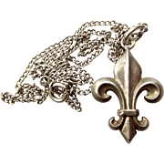 "Edwardian French Silver 3d FLEUR DE LIS Charm PENDANT Fob 17"" Chain"