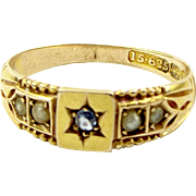 Victorian 15ct Gold, SAPPHIRE & Seed Pearl RING Hmk 1896