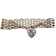 HEAVY 35.6g Vintage 1973 Silver GATE Bracelet Ornate HEART Padlock