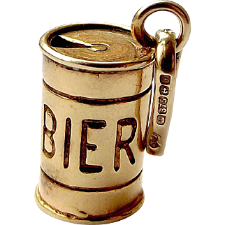 Vintage 9ct Gold BIER CAN Charm Open Ring Pull 1983