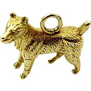 Victorian 18ct Solid Gold DOG Charm FOB Pendant Textured Fur