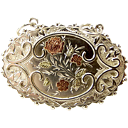 Victorian Silver & 9ct Gold BROOCH Converted To LOCKET Pendant Removable Back 1884