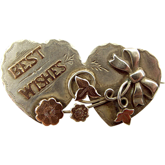 Edwardian Silver & 9ct Gold BEST WISHES Brooch Applied BOW 1908