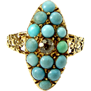GEORGIAN 18ct Gold Marquise RING Turquoise & White Sapphire STUNNING