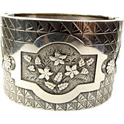 Victorian Silver CUFF BRACELET Bangle Hand Engraved & Raised Detailing