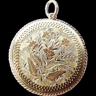 Victorian Silver LOCKET Back Pendant + GOLD Detailing Brooch Conversion