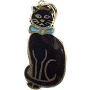 Antique WW1 Period Black Enamel & Silver CAT Charm Blue BOW 1915 Good Luck