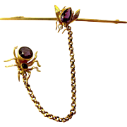 ART DECO Era 9ct Gold SPIDER & FLY Brooch Amethyst & Seed Pear Set 1921 Boxed