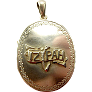 Unusual Victorian Silver MIZPAH Locket Hand Engraved Opens