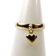 Vintage 9ct Gold Band With 9ct Gold HEART Charm RING