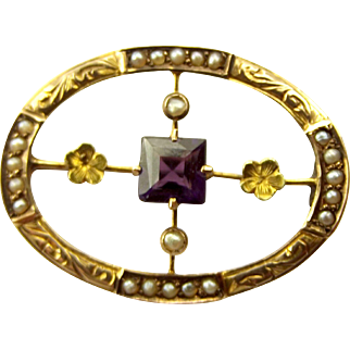 Edwardian 9ct GOLD Seed Pearl & AMETHYST Brooch Suit Conversion.