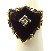 ESEMCO Art Deco 10ct Gold Shield Shaped ONYX Ring Centre DIAMOND