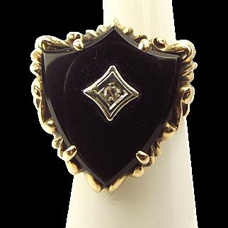 ESEMCO Art Deco 10ct Gold Shield Shaped ONYX Ring Centre DIAMOND