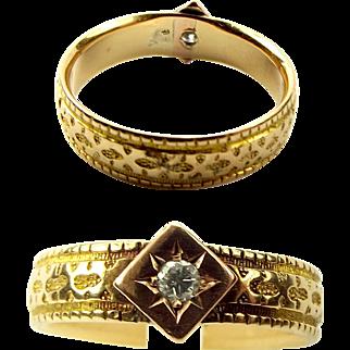 VICTORIAN 18ct Yellow & Rose Gold & Diamond RING Wedding Band 1890