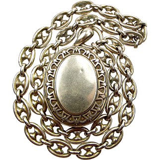 Antique VICTORIAN Sterling Silver LOCKET and ANCHOR Chain Collar