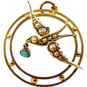 Victorian 9ct Gold SWALLOW With TURQUOISE Drop Pendant