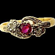EDWARDIAN 18ct Gold Platinum Ruby Diamond RING